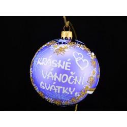 Velká vánoční koule E-011-2 s nápisem na přání (vel. 10 cm)