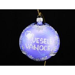 Velká vánoční koule E-011-3 s nápisem na přání (vel. 10 cm)