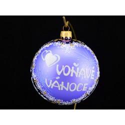 Velká vánoční koule E-012-2 s nápisem na přání (vel. 10 cm)