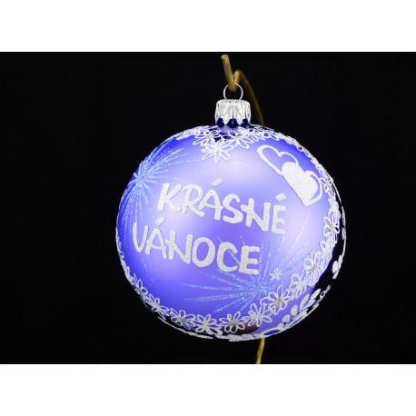 Velká vánoční koule E-012-3 s nápisem na přání (vel. 10 cm)