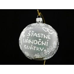 Velká vánoční koule A-011-3 s nápisem na přání (vel. 10 cm)