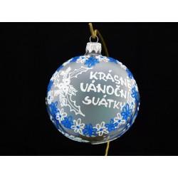 Velká vánoční koule A-011-5 s nápisem na přání (vel. 10 cm)